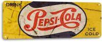 Pepsi Cola Drink Pepsi Ice Cold Vintage Rustic Retro Tin Metal Sign