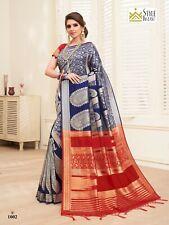 Indian Saree & Blouse Sari Bollywood  Navy Blue Woven Banarasi Art Silk -1632