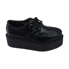 New Pleaser Demonia Gothic Punk Black Leather Creepers 402 Mens Size 5 Womens 7