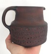 Dybdahl Danish Pitcher Mid Century Modern Dwarf Faces Brown Gift Studio Pottery