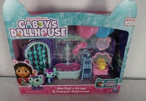 Dreamworks Gabby's Dollhouse MerCat's Primp & Pamper Bathroom 9pcs New
