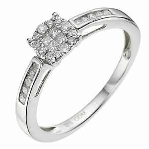 Ernest Jones 9 Carat White Gold 0.25 CT Diamond Cluster Ring Size L.5  2.2g