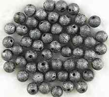 50Pcs 10mm Black Acrylic Stardust Metallic Glitter Spacer Loose Beads