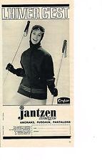 PUBLICITE ADVERTISING 064  1963  JANTZEN   NEIGE  vetements ski anoraks fuseaux
