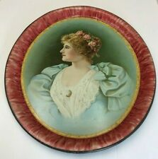 Antique Portrait Oval Beer Soda Tin serving tray ViCtorian Girl No 1 advertising