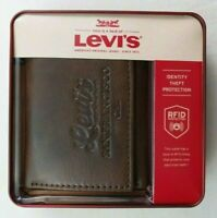 Levi's Mens Trifold Zipper Wallet RFID Blocking Brown Leather New w Box MSRP$30