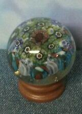 Small Millefiori Art Glass Paperweight on Wood Tone Base