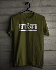 Blessed T-Shirt Logo Novelty Christian Islamic Muslim Army Green X-Large
