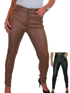 NEW Ladies Evening High Waist Leather Look Stretch Tight Jeans Trousers 10-20