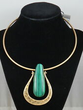 Robert Lee Morris Worn Gold Green Stone Sculptural Drop Wire Collar Necklace #1