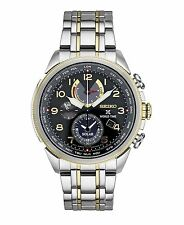 Mens Seiko Solar Stainless Steel Black Dial World Time Chronograph Watch SSC508