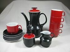 Waldassen Bareuther Bavaria Black and Red Coffee Carafe Set Hot Chocolate Tea