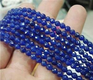 Natural 6mm Faceted Blue Sapphire Round Gemstone Loose Beads 15'' AAA+ Y258
