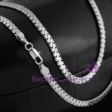 "18K White GOLD GF SILVER 4mm Snake CHAIN Long NECKLACE Womens 19.5"" S15S SOLID"