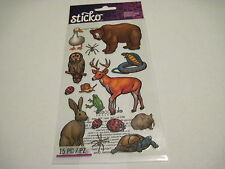 Scrapbooking Stickers Sticko Forest Animals Bear Deer Snake Turtle Rabbit Goose