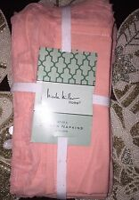 Nicole Miller Shabby Chic Raw Ruffled Edge Light Pink Cloth Napkins Set 4 NWT