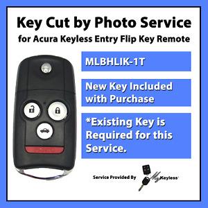 -Key Cut by Photo- Service for Acura Flip Key Car Remote Driver 2 Mem MLBHLIK-1T