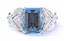 "Tiffany & Co Platinum Aquamarine & Diamond ""Legacy Collection"" Ring 3.44Ct"