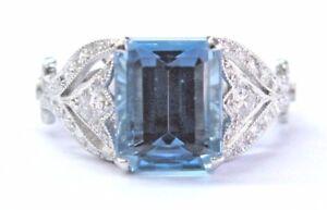 "Tiffany & Co Platinum Aquamarine & Diamond ""Legacy Collection"" Ring 3.44Ct"