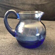 Vintage Cobalt Blue Clear Glass Creamer Pitcher