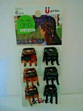 Scunci No Slip Grip 6 Pcs Mini Clips Colors Black/Brown
