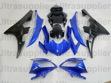 Matte Gloss Black w Blue Fairing Kit Injection for 2006-2007 Yamaha Yzf R6 R600