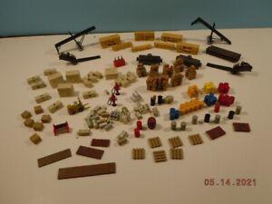 HO Dock Detail Parts - Barrel, Crates, Drums, Pallets, Lumber, Fork Lift, etc.