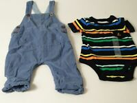 BOYS X2 NEXT BLUE CORDUROY DUNGAREES BABY GAP MULTI COLOUR T-SHIRT AGE 3-6 MTHS