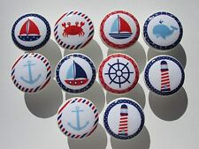Set of 10  Nautical Dresser Drawer Knobs Sailboat Crab Whale Lighthouse Anchor