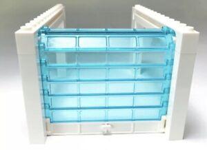 🌟LEGO Sliding Garage Door Assembly Kit White Trans Blue City MOC Rolling Lot