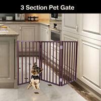 "3 Panel Pet Dog 24"" Free Standing Folding Solid Wood Playpen Divider Fence Gate"