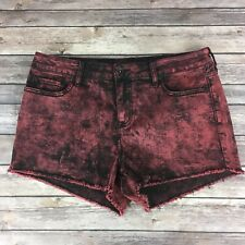 Black Heart Womens Shorts Size 15 Red Tie Dye Mid Rise Pockets Distressed Hem
