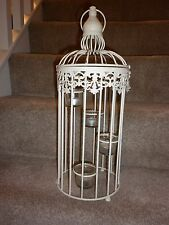 LARGE SHABBY CHIC BIRD CAGE METAL LANTERN, TEA LIGHT CANDLE HOLDER INC CANDLES