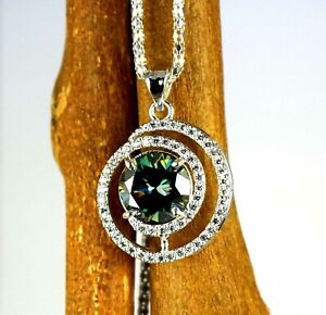 Green Diamond  9.22 Ct Solitaire Earthmined Pendant With Accents