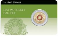2015 GALLIPOLI LEST WE FORGET Coin on Card
