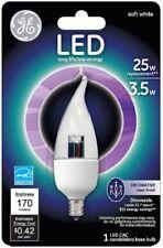 GE Lighting 68166 LED 3.5w (25w equiv) Flame Clear Bulb Candelabra Base NEW