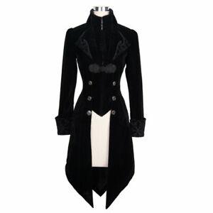 Women's Steampunk Swallow Tail Coat Gothic Long Winter Black Velvet Coat