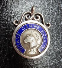 Deane & District Canine Society Hallmarked Enamel Silver Medal  Fob Bolton Lancs