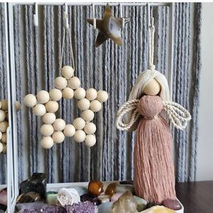Nordic Star Shaped Wood Beads Handmade Hanging Wall Childrens Room Nursery Decor