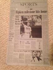 1999 CAL RIPKEN JR. *ONE OF A KIND* SUN NEWSPAPER PRINTING PLATE Ripken 400 HRs