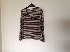 CC petite size xl striped vneck jumpers itch Leather Look Trim Around Neck REDUC