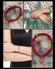 Hamsa Ruby Crystal Red Bamboo Coral Hand Heart Beaded Heal & Protection Bracelet