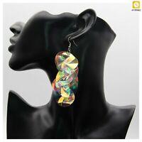Drop Earrings For Women Big Colorful Sequin Flower Statement Geometric Tassel