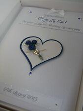 Personalised Sapphire 45th Wedding Anniversary Card, Swarovski crystals, boxed