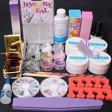 Professional Nail Art Kit Acrylic Glitter Powder Glue File French UV Gel Tips US