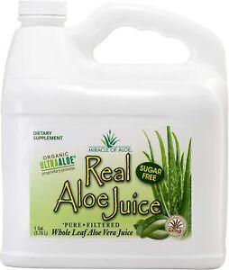 Real Aloe Whole-Leaf Pure Aloe Vera Juice Leaves Purified & Filtered (1 Gallon)