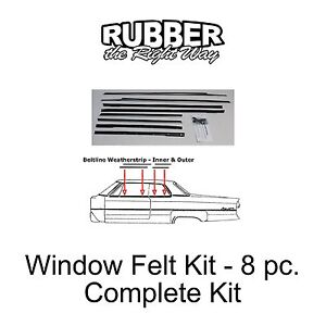 1962 Chevy Impala Window Felt / Sweeper Kit - 8 pc.
