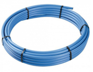 Blue Water Mains Water pipe MDPE Alkathene Polypipe Roll Coil 20mm 25mm and 32mm