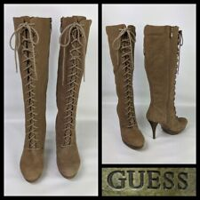 Guess Tan Leather Knee High Heel Lace Up Boots Size US 10M UK 7.5