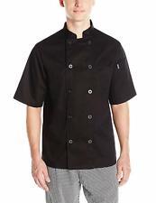 Chef Code Men's Short Sleeve Unisex Classic Chef Coat, Black, Large